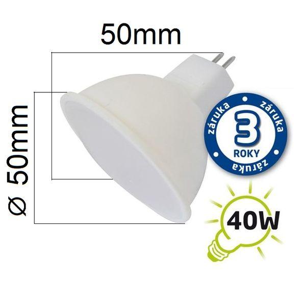 LED žárovka MR16 5W 400lm 12V  teplá, ekvivalent 40W