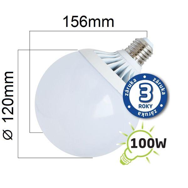 LED žárovka E27 18W 1450lm G120 teplá, ekvivalent 100W