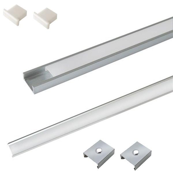 Sada: Hliníkový profil pro 8mm a 10mm LED pásky 1m mléčný kryt + držáky + krytky