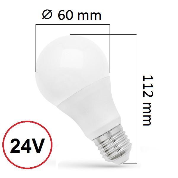 LED žárovka E27 9W 720lm 24V, denní, ekvivalent 55W