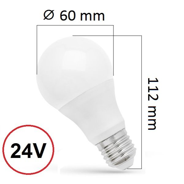 LED žárovka E27 10W 900lm 24V, studená, ekvivalent 65W
