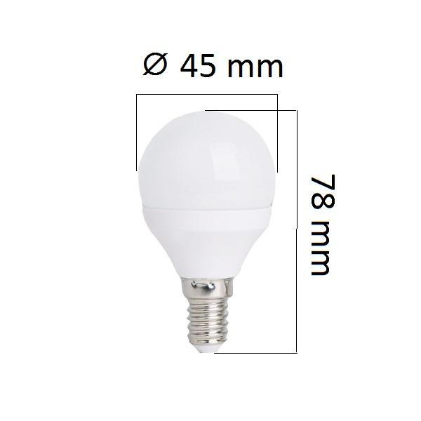 LED žárovka  E14 4W 320lm G45, denní,  ekvivalent 30W