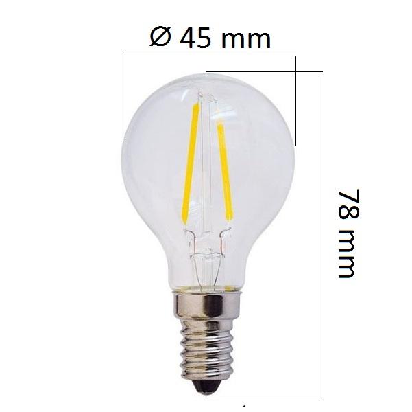 Retro  LED žárovka E14 4W 400lm G45 teplá, filament, ekvivalent  32W