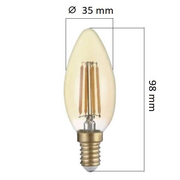 Retro LED žárovka  E14 4W 400lm extra teplá, filament, ekvivalent  27W