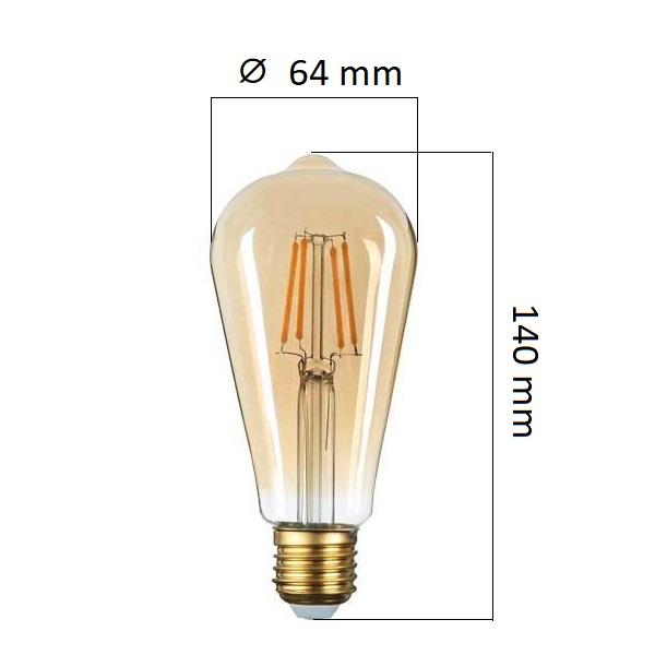 Retro LED  žárovka E27 6W 540lm extra teplá, filament,  ekvivalent 36W