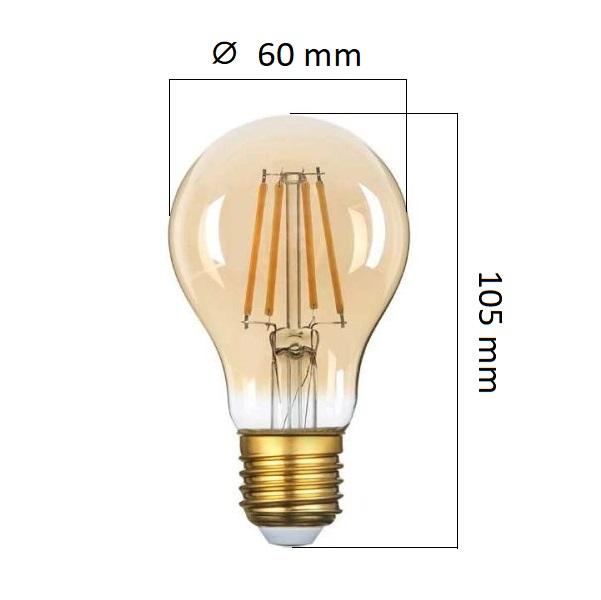 Retro LED žárovka E27 8W 700lm extra teplá, filament,  ekvivalent 54W