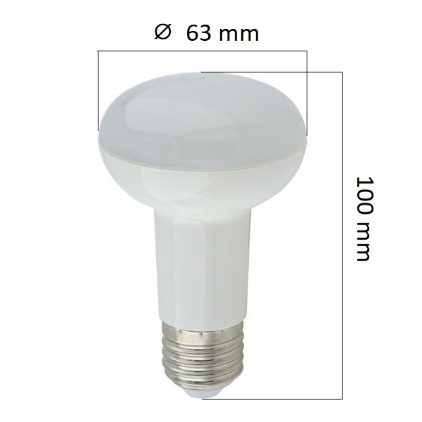 LED  žárovka E27 6W 480lm R63, studená, ekvivalent 36W