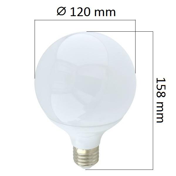 LED  žárovka E27 18W 1440lm G120 teplá, ekvivalent 108W