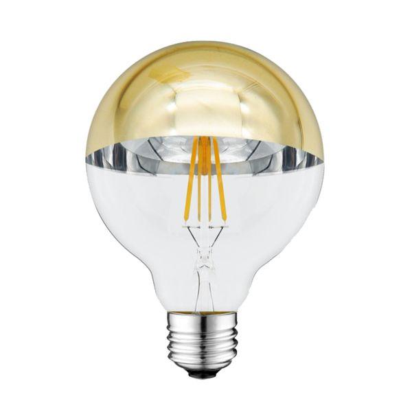 Retro LED žárovka E27 4W 400lm G95 teplá, zlatá polokoule, filament, ekvivalent 27W