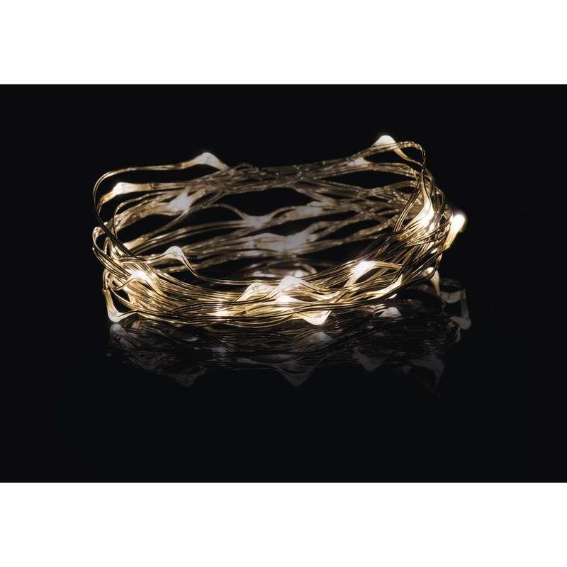 LED vánoční řetěz 2,4W jantarové světlo, 7,5m, voděodolný, časovač
