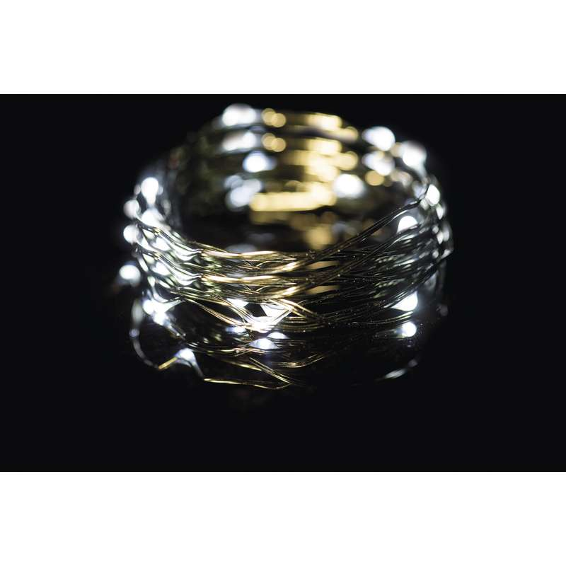 LED vánoční řetěz 2,4W studené světlo, 7,5m, voděodolný, časovač