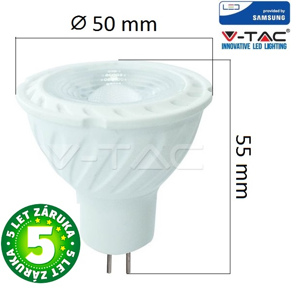 Prémiová LED žárovka MR16 SAMSUNG čipy 6,5W 450lm 38° 12V, studená, 5 let