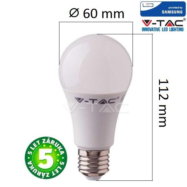 Prémiová LED žárovka E27 SAMSUNG čipy 8,5W 1055lm teplá, 5 let