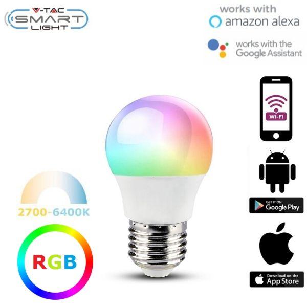Chytrá LED žárovka E27 5W G45 WIFI RGB + teplá, denní, studená (SMART)
