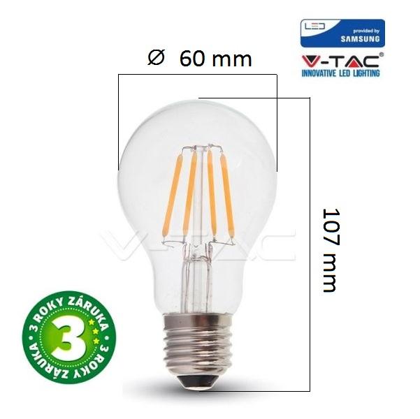 Prémiová retro LED žárovka E27 SAMSUNG čipy 6W 806lm teplá, filament, 3 roky