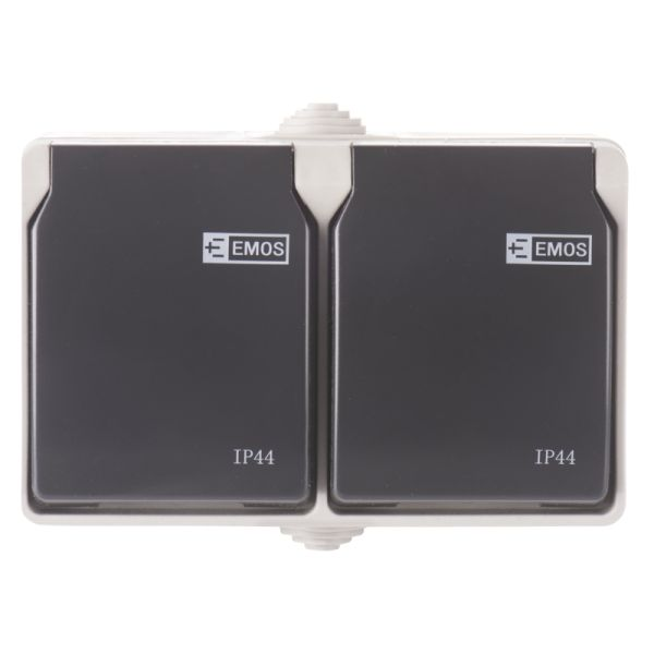 Zásuvka nástěnná dvojitá, šedo-černá,  IP44
