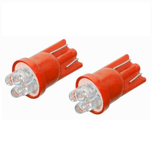 Led autožárovka 4LED 12V T10 červená 2ks