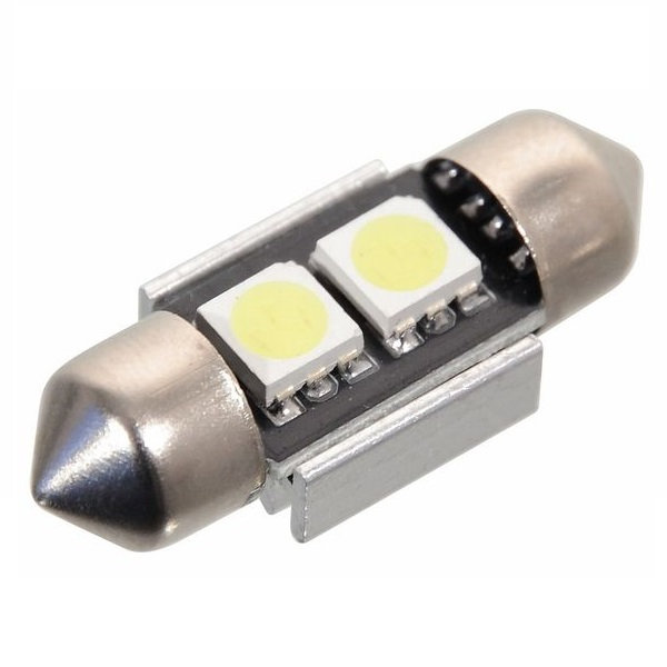 Led autožárovka 2 SMD LED 12V suf. SV8.5 32mm s rezistorem CAN-BUS ready bílá