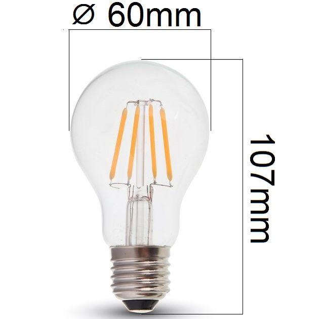 Retro LED žárovka E27 4W 400lm teplá, filament, ekvivalent 40W