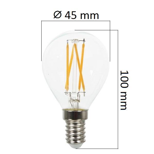 Retro LED žárovka E14 4W  400lm G45 teplá, filament, ekvivalent 40W