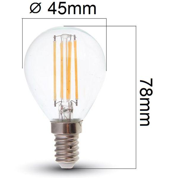 Stmívatelná retro LED žárovka E14 4W 320lm G45 teplá, filament, ekvivalent 30W
