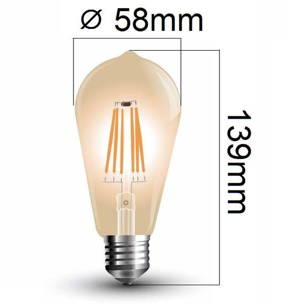 Retro LED žárovka E27 6W 500lm extra teplá, filament, ekvivalent 50W