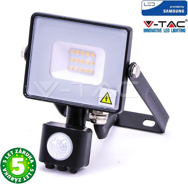 Prémiový ultratenký LED reflektor 10W 800lm s čidlem SAMSUNG čipy teplá