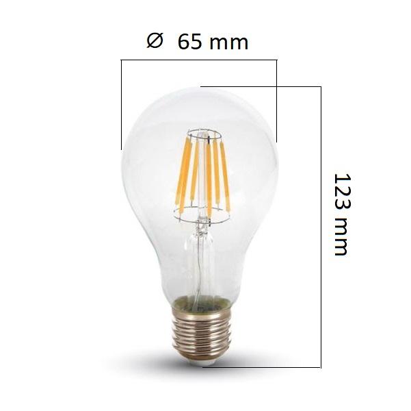 Retro LED žárovka E27 8W 800lm, denní, filament, ekvivalent 60W