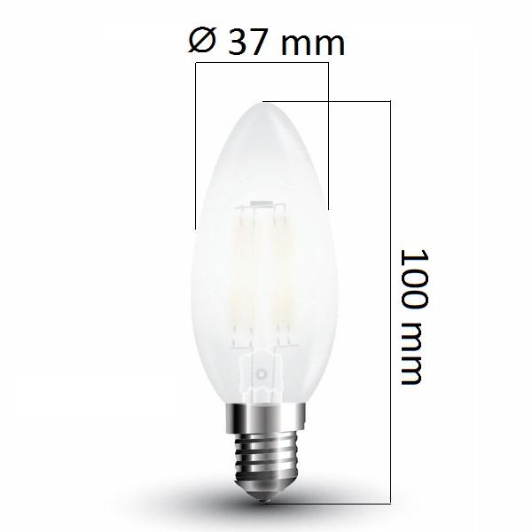 Retro LED žárovka E14  4W 400lm teplá, filament, ekvivalent 40W