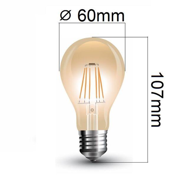 Retro LED žárovka E27 4W 350lm extra teplá, filament, ekvivalent 35W