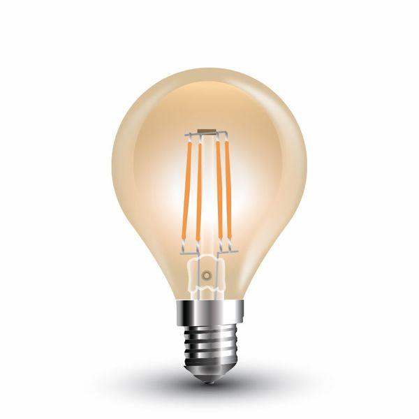 Retro LED žárovka  E14 4W 350lm G45 teplá, filament, ekvivalent  35W