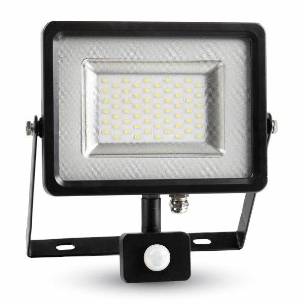 Ultratenký LED reflektor s čidlem pohybu černý 30W 2400lm denní
