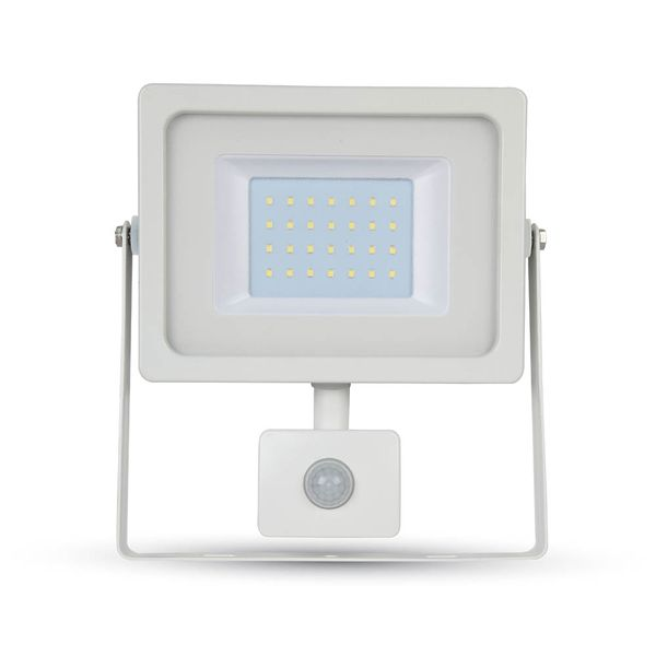 Ultratenký LED reflektor s čidlem pohybu bílý 30W 2550lm, denní