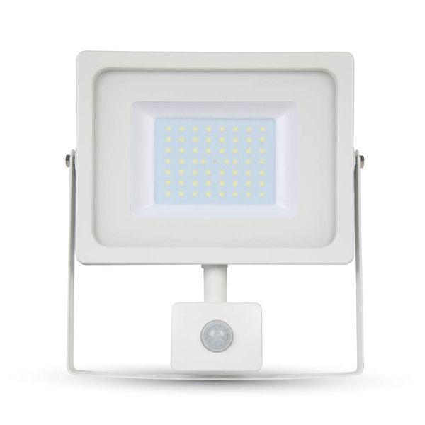 Ultratenký LED reflektor s čidlem pohybu bílý 50W 4250lm, denní