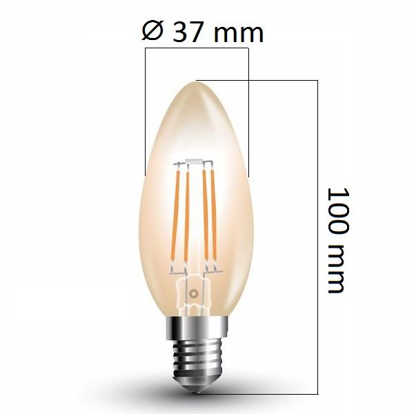 Retro LED žárovka  E14 4W 350lm extra teplá, filament, ekvivalent 35W
