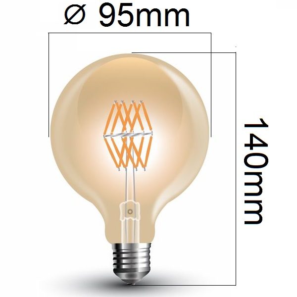 Retro LED žárovka E27 7W 600lm G95 extra teplá, filament, ekvivalent 60W
