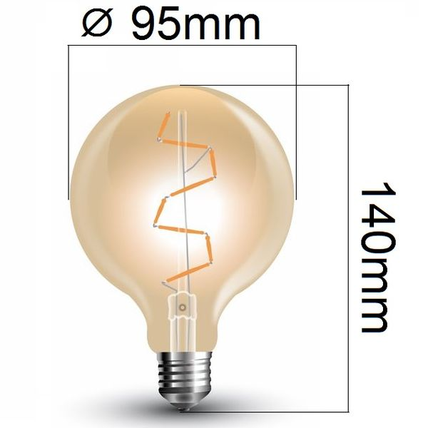 Retro LED žárovka E27 4W 400lm G95 teplá, filament, ekvivalent 40W