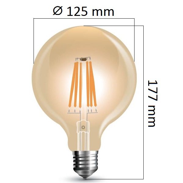 Stmívatelná retro LED žárovka E27 8W 700lm G125 extra teplá, filament, ekvivalent 60W