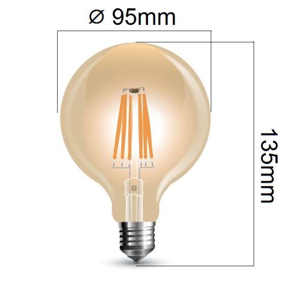 Stmívatelná retro LED žárovka E27 6W 500lm G95 extra teplá, filament, ekvivalent 50W