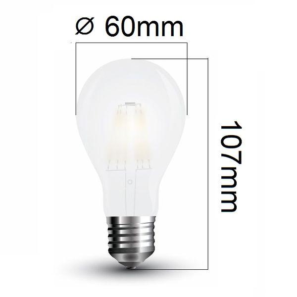 LED žárovka E27 7W 840lm teplá, filament, ekvivalent 60W