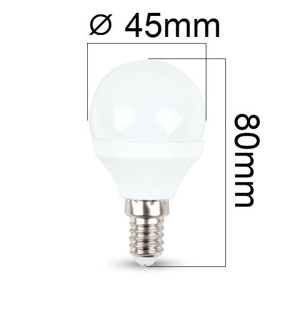LED žárovka E14 3W 250lm G45 teplá,  ekvivalent 25W