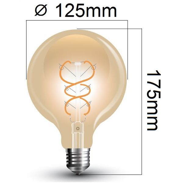 Retro LED žárovka E27 5W 300lm G125 teplá, filament, ekvivalent 30W