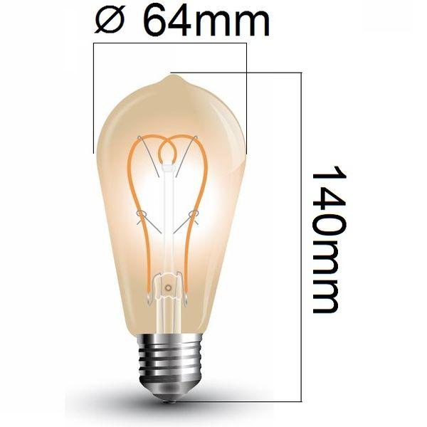Retro LED žárovka E27 5W 300lm extra teplá, filament, ekvivalent 30W