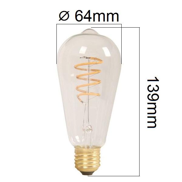 Retro LED žárovka  E27 4W 320lm extra teplá, filament, ekvivalent 30W