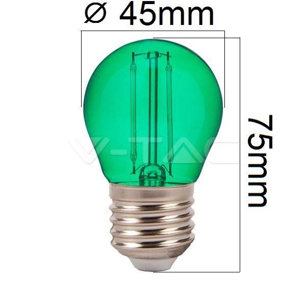 Retro barevná LED žárovka E27 2W 60lm zelená, filament, ekvivalent 10W