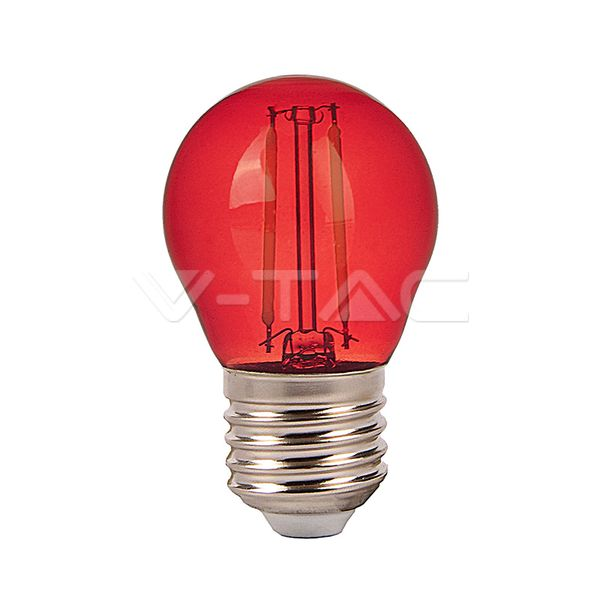 Barevná LED žárovka E27 2W 60lm červená, filament, ekvivalent 10W