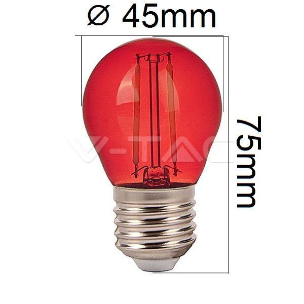 Retro barevná LED žárovka E27 2W 60lm červená, filament, ekvivalent 10W