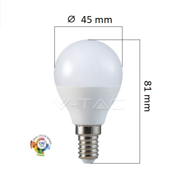 LED žárovky E14 5,5W 470lm Ra95 G45 teplá, ekvivalent 40W
