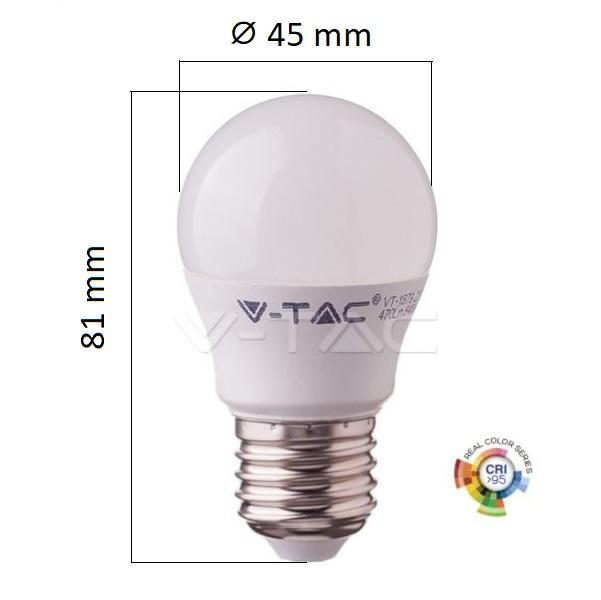 LED žárovka E27 5,5W 470lm Ra95 G45 teplá, ekvivalent 40W