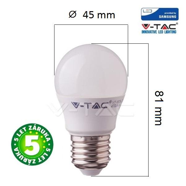 Prémiová LED žárovka E27 SAMSUNG čipy 7W 600lm G45, studená, 5 let